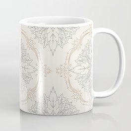 Modern Floral Damask Pattern – Neutral Brown and Gray Earth Tones Coffee Mug