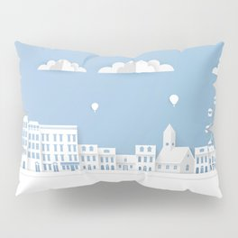 Origami Style Illustration Paper Buildings. Paper Art Landscape, Urban Scene. Pillow Sham