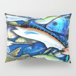 DEEP SALTWATER FISHING COLLAGE Pillow Sham