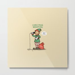 Christmas Wrapping - Funny Xmas Cartoon - Festive Elf Illustration Metal Print