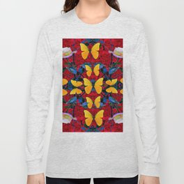 RED-WHITE ROSES & YELLOW BUTTERFLIES GARDEN Long Sleeve T-shirt
