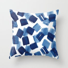 Indigo Brush Strokes | No.1 Throw Pillow