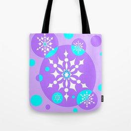 A Lavender and Aqua Snowflake Design Tote Bag