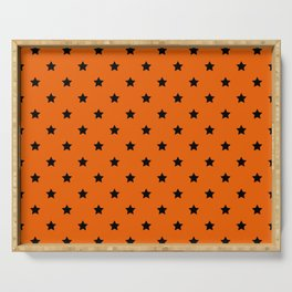Orange and Black Stars Pattern Serving Tray