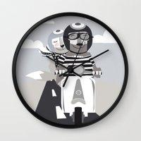 vespa Wall Clocks featuring VESPA by tonadisseny