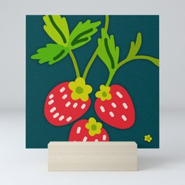 Strawberries Galore (pattern on Sea Blue-Green) Mini Art Print