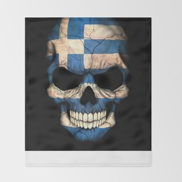 Dark Skull with Flag of Greece Throw Blanket