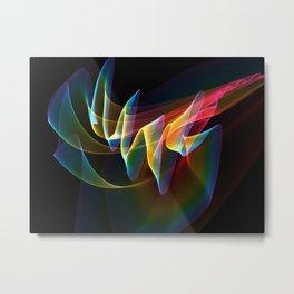 Northern Lights, Abstract Fractal Rainbow Aurora Metal Print