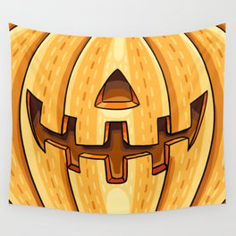 Friendly Pumpkin Carving Wall Tapestry