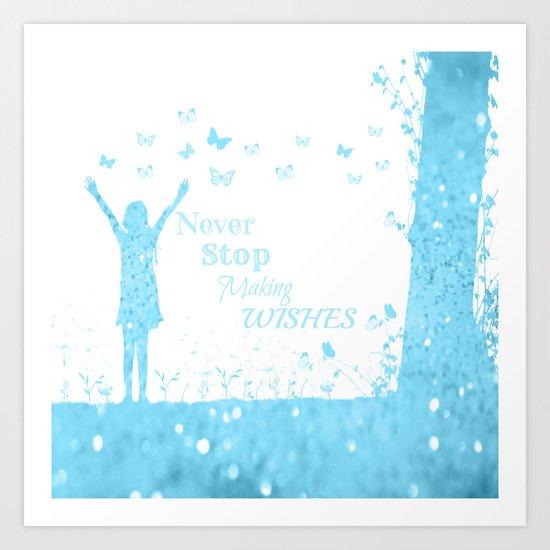 Blue Wishes Art Print
