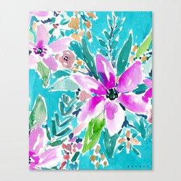 TROPICAL BENEVOLENCE Aqua Floral Canvas Print