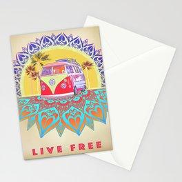 "BusLife Vintage Inspired ""Live Free"" Poster print Stationery Cards"