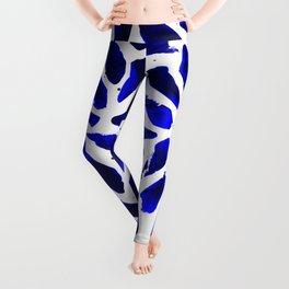 Cobalt Blue Ink Blots Leggings