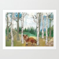 woodland Art Prints featuring Woodland by Jo Cheung Illustration