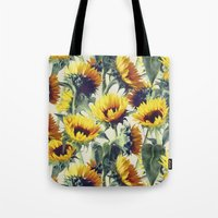 garden Tote Bags featuring Sunflowers Forever by micklyn
