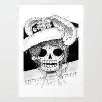 Dia de los Muertos Skull with Hat - Black and White Art Print