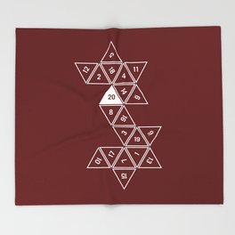 Red Unrolled D20 Throw Blanket
