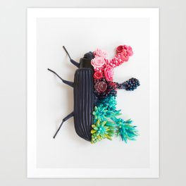 Beetle and Flowers, Surrealistic Art Art Print