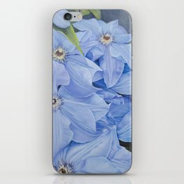 Blue Clematis Flowers on Knotted Fence Post iPhone Skin