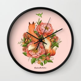 The Red Foxes and Coral Sunset Peonies Wall Clock