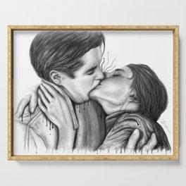 Cinema Kiss black&white - Love Art Illustration Romance Lovers Relationship Couple Drawing Kiss Serving Tray