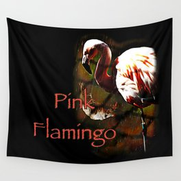 Pink Flamingo in the rain Wall Tapestry