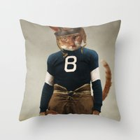 nfl Throw Pillows featuring Quarterback Beans by The Lonely Pixel