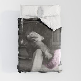 Albert Einstein in Fuzzy Pink Slippers Classic E = mc² Black and White Satirical Photography  Comforters