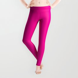 Girly modern neon pink solid color Leggings