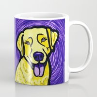 lab Mugs featuring Yellow Lab by Gianna Brucato