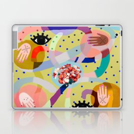 abstract evil eye , female hands, dots, love, flowers Laptop & iPad Skin