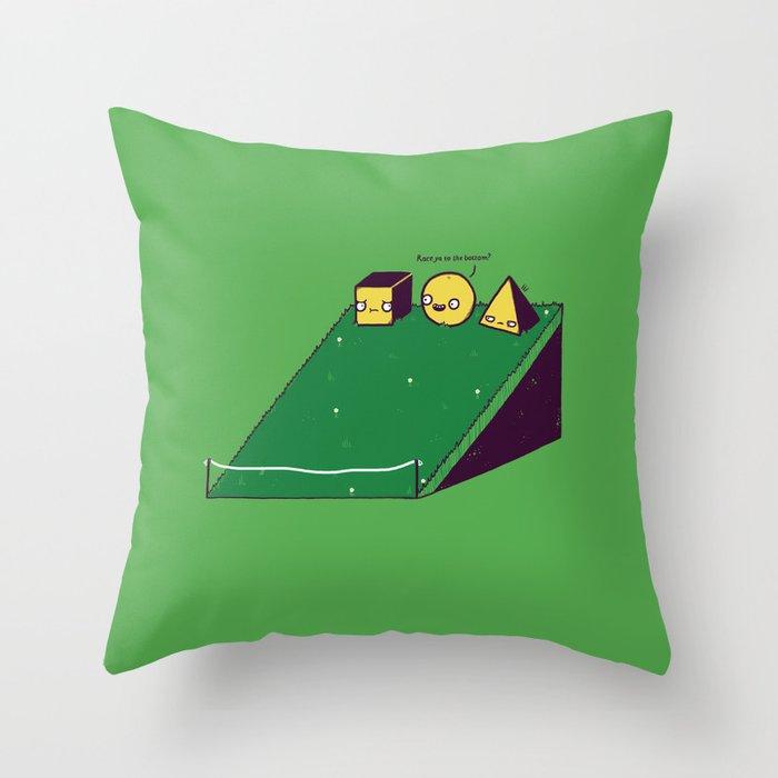 Hill race Throw Pillow