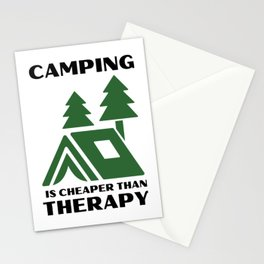 CAMPING IS CHEAPER THAN THERAPY light background Stationery Cards