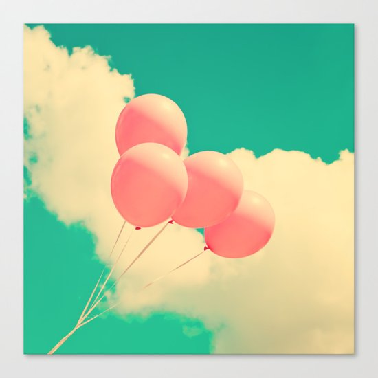 Happy Pink Balloons on retro blue sky  Canvas Print