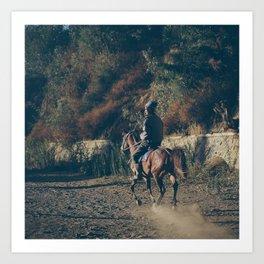 BROMO HORSE RIDER Art Print