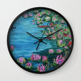 Lily Pond, Impressionism Painting, Pond Flowers Wall Clock