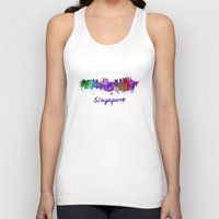 singapore Tank Tops featuring Singapore skyline in watercolor by Paulrommer