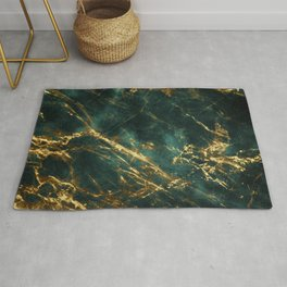 Lavish Velvety Green Marble With Ornate Gold Veins Rug