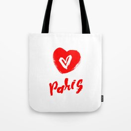 The word Paris with the heart. The hand drawn letters. Lettering and typographic design. Tote Bag