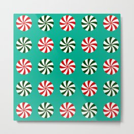 Striped Candy Mints in Christmas Colors Pattern Metal Print