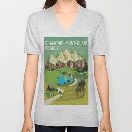 Chamonix-Mont-Blanc,France travel poster. Unisex V-Neck