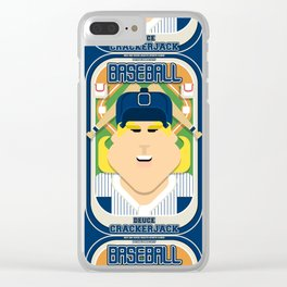 Baseball Blue Pinstripes - Deuce Crackerjack - Hazel version Clear iPhone Case