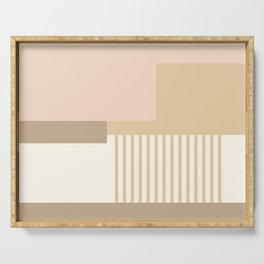 Sol Abstract Geometric Print in Tan Serving Tray