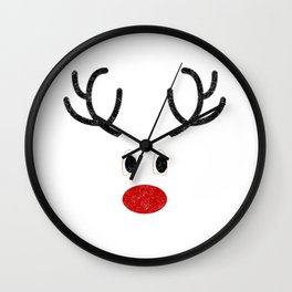 Cute Reindeer Face Wall Clock