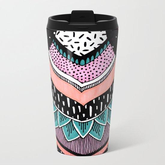 Pink & Coral Feather Pattern Metal Travel Mug