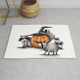 Raccoons and Jack-O-Lanterns Rug
