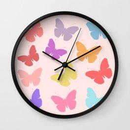 Multicoloured Butterflies on Pink Wall Clock