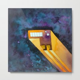 Tetris Monster Zooming Metal Print