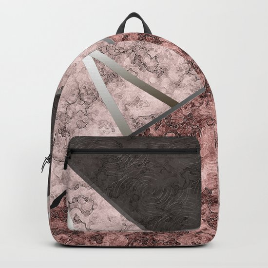 Marble . Combined abstract pattern . Backpack