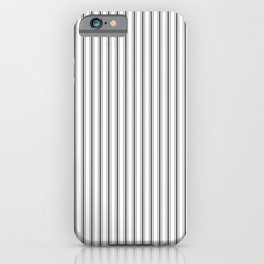 Ticking Narrow Striped Pattern in Dark Black and White iPhone Case